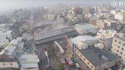 드론으로 촬영한 대만 지진 현장의