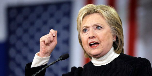 Democratic presidential candidate Hillary Clinton speaks at her first-in-the-nation presidential primary...