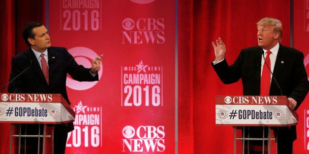Republican presidential candidate, businessman Donald Trump, right, and Republican presidential candidate,...