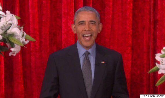 버락 오바마가 TV에서 영부인에게 밸런타인 데이 메시지를