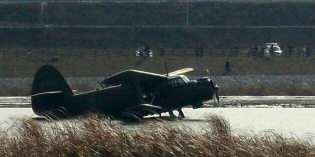 안동 하천에 군용기 비상착륙 : 조종사 2명은