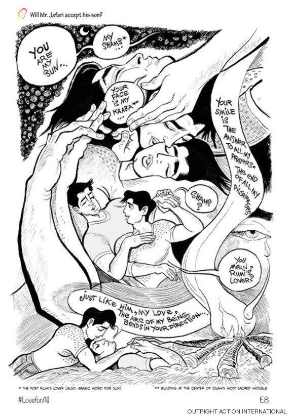 이란에서 게이로 살며 사랑하는 것의 어려움을 보여주는 그래픽