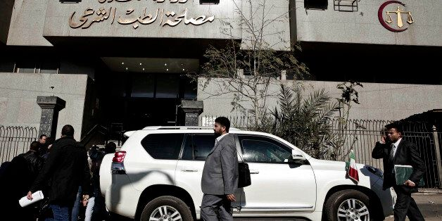 A vehicle belonging to the Italian ambassador is parked outside Zeinhom morgue, where the body of Giulio...