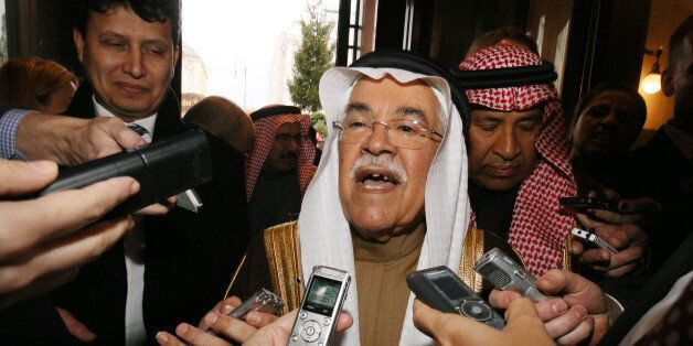 Saudi Arabia's Minister of Petroleum and Mineral Resources Ali Ibrahim Naimi speaks to journalists at...
