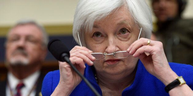 Federal Reserve Board Chair Janet Yellen prepares to testify on Capitol Hill in Washington, Wednesday,...