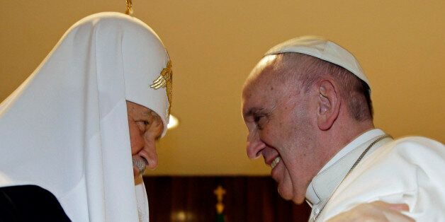 The head of the Russian Orthodox Church Patriarch Kirill, left, and Pope Francis meet at the Jose Marti...