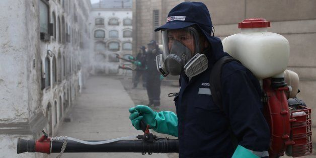 Health workers fumigate against the Aedes aegypti mosquito, a vector for the spread of Dengue, Chikungunya...