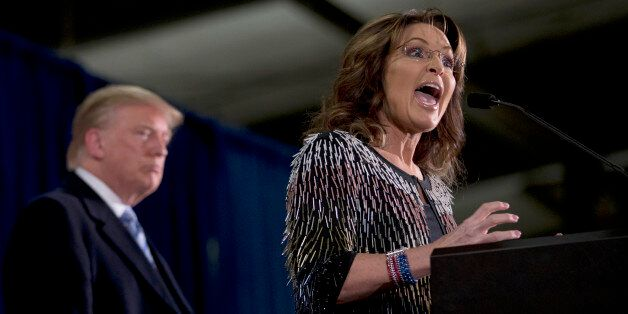 Former Alaska Gov. Sarah Palin, right, endorses Republican presidential candidate Donald Trump during...