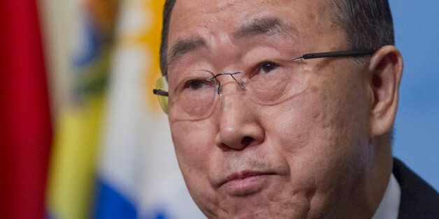 United Nations Secretary-General Ban Ki-moon speaks during a media briefing before attending a Security...