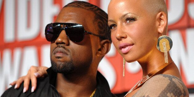 Kanye West and Amber Rose arrive at the MTV Video Music Awards at Radio City Music Hall on September...