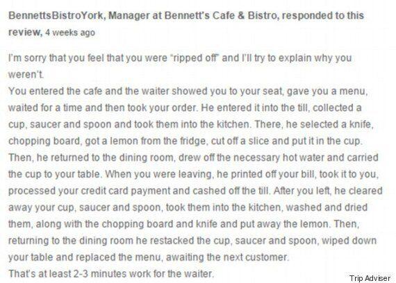 '레몬 물이 3천5백 원', 화내는 손님에게 매니저가 남긴