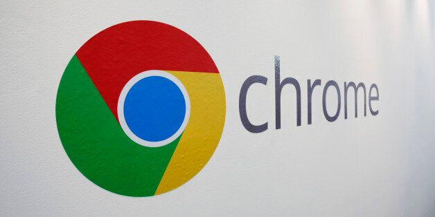 The Chrome logo is displayed at a Google event, Tuesday, Oct. 8, 2013 in New York. Google is introducing...