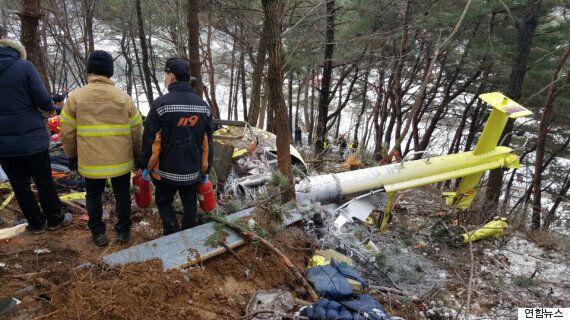 전북에서 추락한 헬기의 처참한 모습(사진
