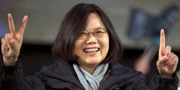 Tsai Ing-wen presidential candidate of Taiwan's Democratic Progressive Party, gestures during a rally...
