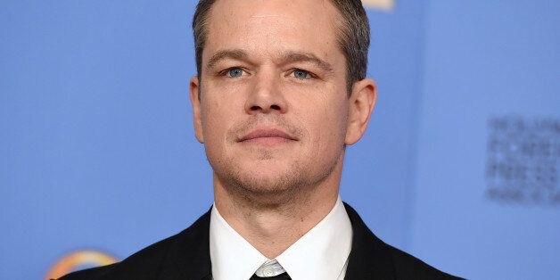 Matt Damon poses in the press room with the award for best performance by an actor in a motion picture...