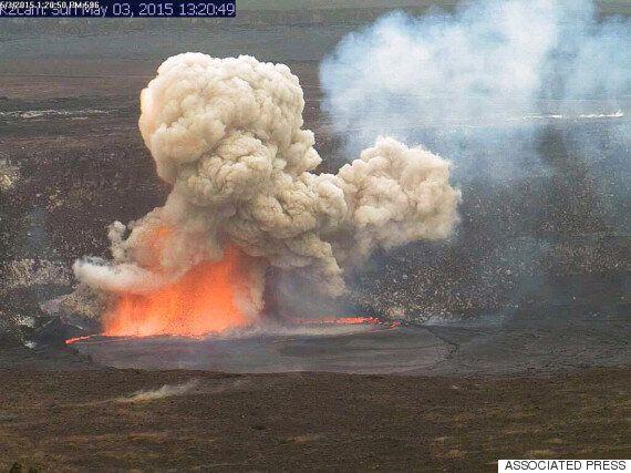 하와이의 용암 호수 폭발이 기묘한 유리알을