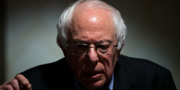 Democratic presidential candidate Sen. Bernie Sanders, I-Vt., holds a press conference after speaking...