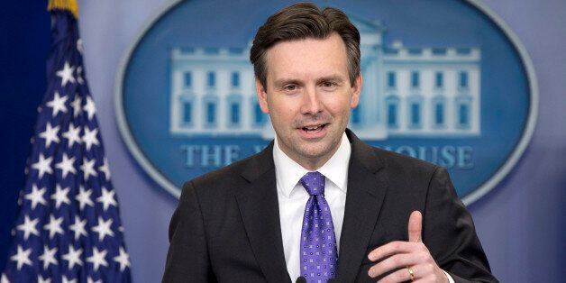 White House press secretary Josh Earnest speaks during the daily news briefing at the White House in...