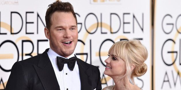 Chris Pratt, left, and Anna Faris arrive at the 72nd annual Golden Globe Awards at the Beverly Hilton...