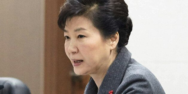 FILE - In this Wednesday, Jan. 6, 2016 file photo, South Korean President Park Geun-hye presides over...