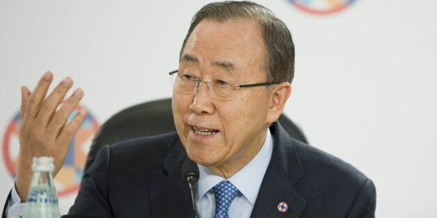 United Nations Secretary General Ban Ki-moon delivers his speech at the Climate Change special session...