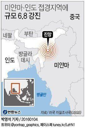 미얀마-인도 접경에 6.7 강진