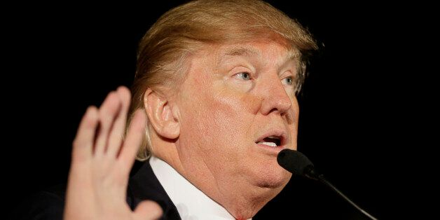 Republican presidential candidate Donald Trump speaks during a campaign rally at the Veterans Memorial...