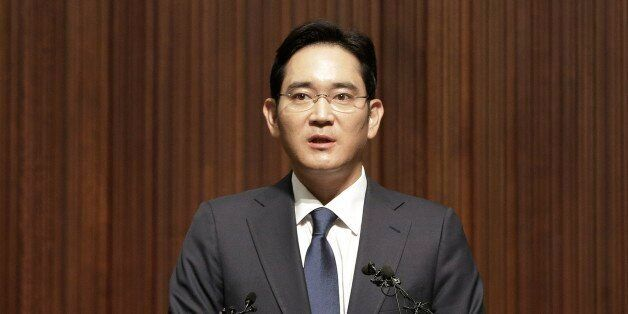 Lee Jae-yong, vice president of Samsung Electronics Co., speaks during a press conference at the company's...