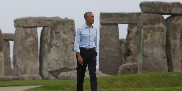 President Barack Obama visits Stonehenge after leaving the NATO summit in Newport, Wales, Friday, Sept....