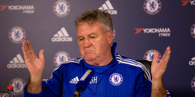 Chelsea's new manager until the end of the season, Guus Hiddink, gives his first press conference since...