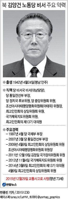 '외교 브레인' 북한 김양건 노동당 비서, 교통사고로