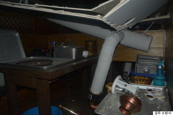 식당에서 밥 먹고 있는데 갑자기 천장이 내려앉았다(사진,