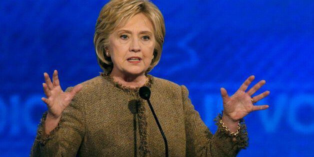Hillary Clinton speaks during a Democratic presidential primary debate Saturday, Dec. 19, 2015, at Saint...