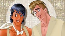 디즈니 왕자들이 파티를 즐기는