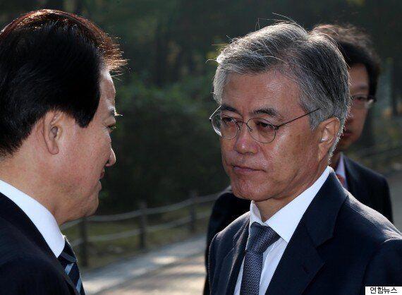 문재인 대표 정동영 전 의원과 만나 막걸리