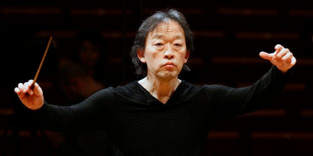 South Korean conductor Chung Myung-whun directs the last rehearsal of members of North Korea's Unhasu...