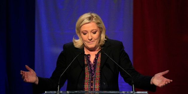 Far Right National Front party leader Marine Le Pen delivers her speech after the results of the second...