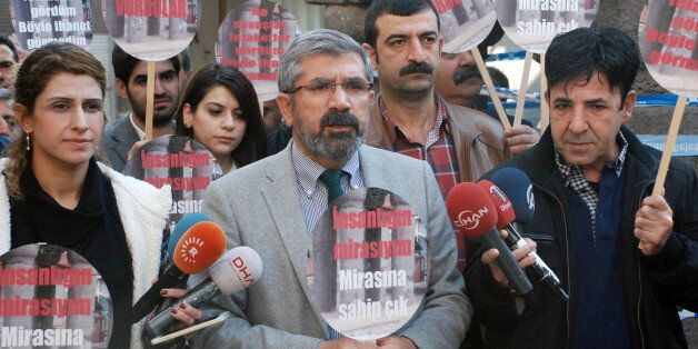 Tahir Elci, the head of Diyarbakir Bar Association, speaks to the media shortly before being killed in...