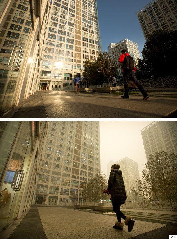 불과 한 달 만에 몰라보게 달라진 중국의 거리(스모그 전후