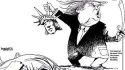 뉴욕데일리뉴스, 트럼프가 자유의 여신상을 참수하는 만평을 일면에
