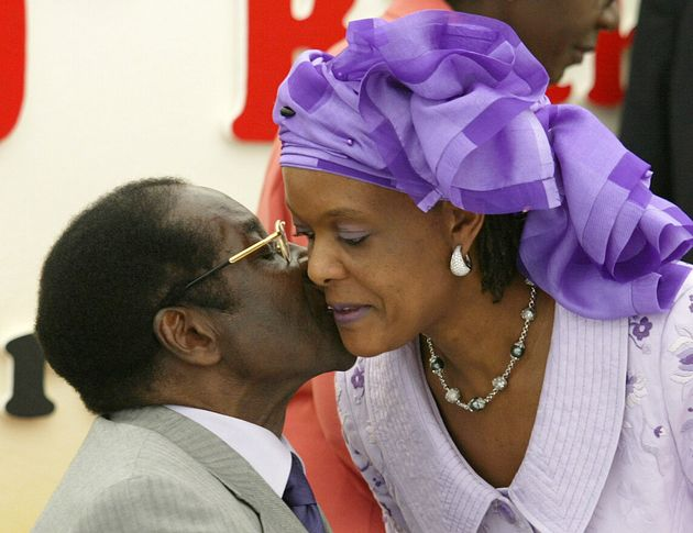Robert Mugabe with his wife Grace in