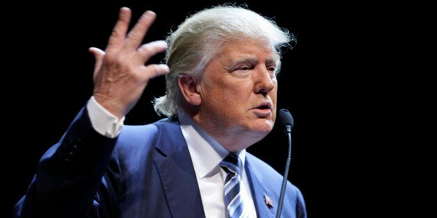 Republican presidential candidate Donald Trump speaks during a rally at Iowa Central Community College,...