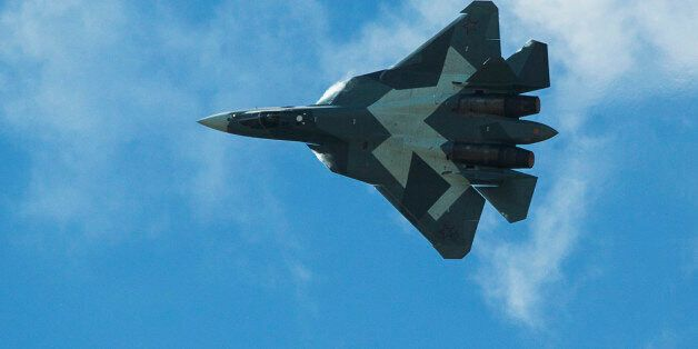Russian Sukhoi T-50 fighter jet performs during the MAKS-2015 International Aviation and Space Show in...