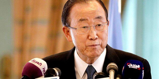 United Nations Secretary General Ban Ki-Moon speaks during a press conference with King Salman bin Abdul-Aziz...