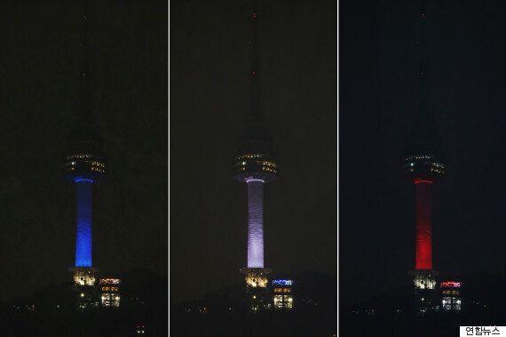 파리 테러 추모에 동참한 남산 N서울타워(사진,