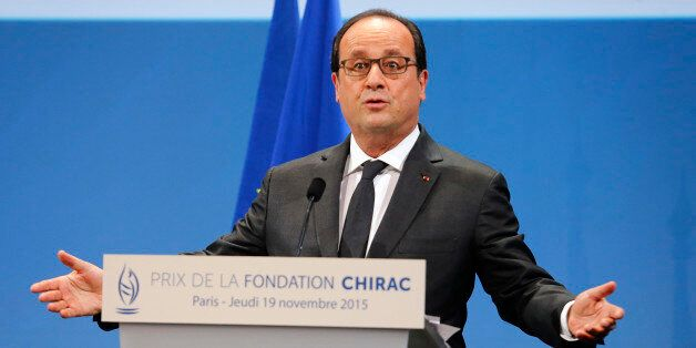 French President Francois Hollande delivers his speech at the Chirac Foundation prize-giving ceremony...