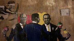 Conte celebra le nozze tra Di Maio e Zingaretti e Renzi è Cupido nel murales di TvBoy