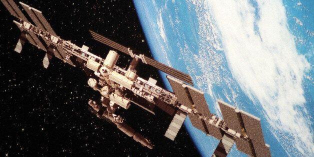 Modell der geplanten Internationalen Raumstation ISS, an der sich nahezu alle grossen Industrienationen...