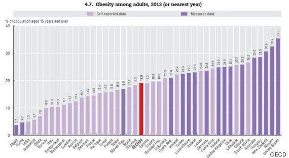 주요 국가 중 가장 날씬한 나라는