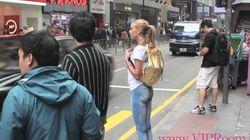 바지를 입지 않고 홍콩 거리를 활보한